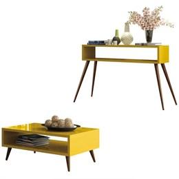 Mesa de Centro e Aparador Retrô Amarela - PR Móveis