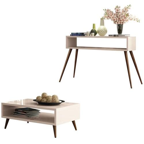 Mesa de centro Lucy com Aparador Quad - Off White - HB Móveis
