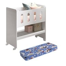Mini Berço 3 em 1 Zain com colchão Branco Brilho - Reller Móveis