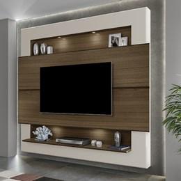 Painel Home Suspenso para TV Riviera 210cm Amêndoa/Off White - Móveis Luapa