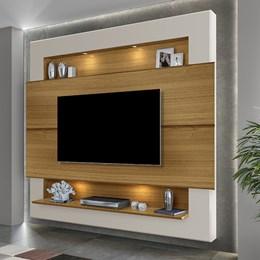 Painel Home Suspenso para TV Riviera 210cm Carvalho/Off White - Móveis Luapa