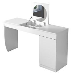 Penteadeira Escrivaninha Com Espelho Crystal Branco Fosco - Mobler