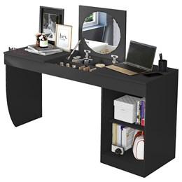 Penteadeira Escrivaninha Com Espelho Crystal Preto Fosco - Mobler
