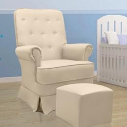 Poltrona de Amamentação Laura Fixa com Puff - Bege - Phoenix Baby