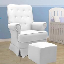Poltrona de Amamentação Laura Fixa com Puff- Branco - Phoenix Baby