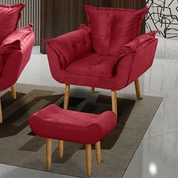 Poltrona Decorativa com Puff Opala Suede Vermelho Pés Palito - Romer Móveis