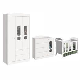 Quarto Infantil 3 Portas Danny Branco Brilho - Reller Móveis