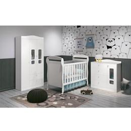 Quarto Infantil 3 Portas Danny Branco Fosco - Reller Móveis