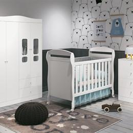 Quarto Infantil 4 Portas Danny Branco Fosco - Reller Móveis