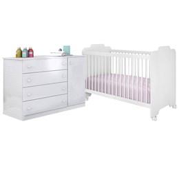 Quarto Infantil com Cômoda Helena e Berço Ternura Branco - Phoenix Baby/Peternella Móveis