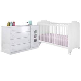 Quarto Infantil com Cômoda Livia e Berço Ternura Branco - Phoenix Baby/Peternella Móveis