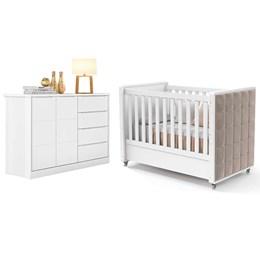 Quarto Infantil com Cômoda Pietra e Berço Berço Tutto com Capitonê Branco Fosco - PR Baby