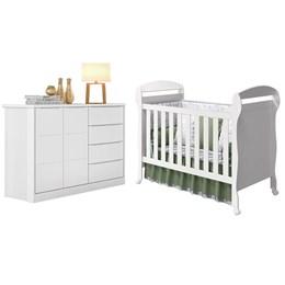Quarto Infantil com Cômoda Pietra e Berço Mini Cama Danny Branco Fosco - PR Baby