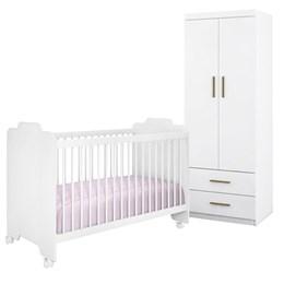 Quarto Infantil com Roupeiro Chiara e Berço Ternura Branco - Phoenix Baby/Peternella Móveis