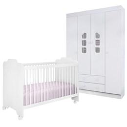 Quarto Infantil com Roupeiro Livia e Berço Ternura Branco - Phoenix Baby/Peternella Móveis