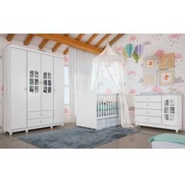 Quarto Infantil Gabi 4 Portas com Berço Mini Cama Gabi Branco Brilho - Carolina Móveis