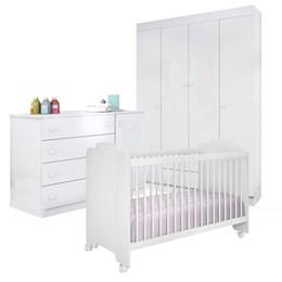 Quarto Infantil Helena com Berço Ternura Branco - Phoenix Baby/Peternella Móveis