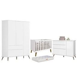 Quarto Infantil Retro Alice com Berço Aline Branco e Colchão D18 - PR Baby