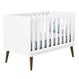 Quarto Infantil Retro Alice com Berço Americano Theo e Colchão D18 Branco - PR Baby