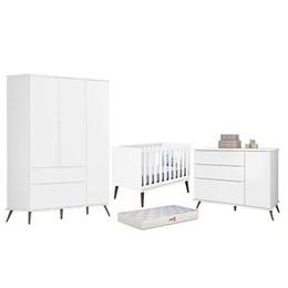 Quarto Infantil Retro Alice com Berço Iris Branco e Colchão D18 - PR Baby