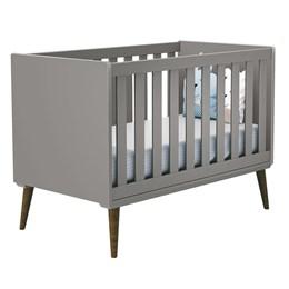Quarto Infantil Retro Alice com Berço Íris Cinza e Colchão D18 - PR Baby