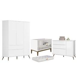 Quarto Infantil Retro Alice com Berço Laura Branco e Colchão D18 - PR Baby