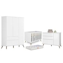 Quarto Infantil Retro Alice com Berço Old New Branco e Colchão D18 - PR Baby