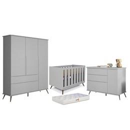 Quarto Infantil Retro Alice com Berço Old New Cinza e Colchão D18 - PR Baby