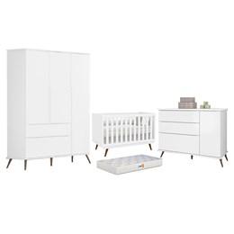 Quarto Infantil Retro Alice com Berço Retro e Colchão D18 Branco - PR Baby