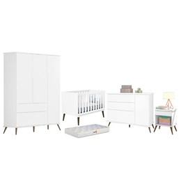 Quarto Infantil Retro Alice com Mesa, Berço Íris Branco e Colchão D18 - PR Baby