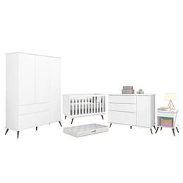 Quarto Infantil Retro Alice com Mesa, Berço Retro e Colchão D18 Branco - PR Baby