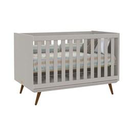 Quarto Infantil Retro Alice com Mesa, Berço Retro e Colchão D18 Cinza - PR Baby