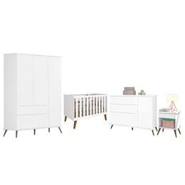 Quarto Infantil Retro Alice com Mesa e Berço Aline Branco - PR Baby