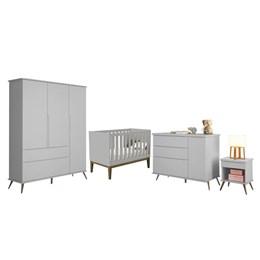 Quarto Infantil Retro Alice com Mesa e Berço Americano Classic Cinza - PR Baby/Reller Móveis