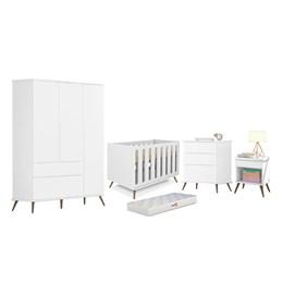 Quarto Infantil Retro Alice Cômoda 3 gav, Berço Old New Branco e Colchão D18 - PR Baby
