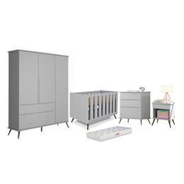 Quarto Infantil Retro Alice Cômoda 3 gav, Berço Old New Cinza e Colchão D18 - PR Baby