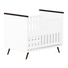 Quarto Infantil Retro Alice Guarda Roupa, Cômoda 3 gav, Mesa e Berço c/ Colchão D18 Branco - PR Baby
