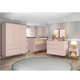 Quarto Infantil Retro Alice Guarda Roupa, Cômoda com Porta, Mesa e Berço com Colchão D18 Rose - PR