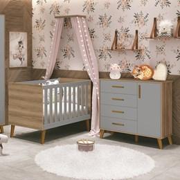 Quarto Infantil Retrô Aline com Berço e Cômoda Cinza Fosco/Mezzo Fosco - PR Baby