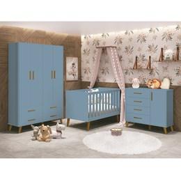 Quarto Infantil Retrô Ayla com Guarda Roupa, Berço e Cômoda Azul Fosco - Reller Móveis