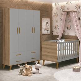 Quarto Infantil Retrô Ayla com Guarda Roupa e Berço Cinza Fosco/Mezzo Fosco - Reller Móveis