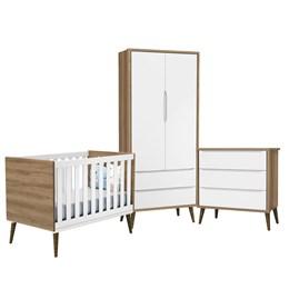 Quarto Infantil Theo 2 portas Branco Fosco/Mezzo com Pés Amadeirado - Reller Móveis