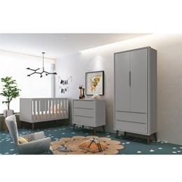 Quarto Infantil Theo 2 portas Cinza Fosco com Pés Amadeirado - Reller Móveis