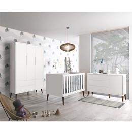 Quarto Infantil Theo 3 portas Branco Fosco com Pés Amadeirado - Reller Móveis