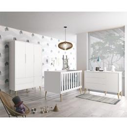 Quarto Infantil Theo 3 portas Branco Fosco com Pés Madeira Natural - Reller Móveis