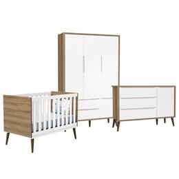 Quarto Infantil Theo 3 portas Branco Fosco/Mezzo com Pés Amadeirado - Reller Móveis