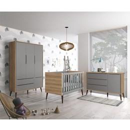 Quarto Infantil Theo 3 portas Cinza Fosco/Mezzo com Pés Amadeirado - Reller Móveis