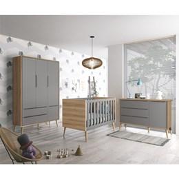 Quarto Infantil Theo 3 portas Cinza Fosco/Mezzo com Pés Madeira Natural - Reller Móveis