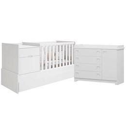 Quarto Infantil Victoria com Cômoda e Berço Cama Branco Fosco - Reller Móveis