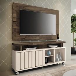 """Rack Bancada com Painel Boss 1.3 para TV de até 50"""" Off White/Deck - PR Móveis"""